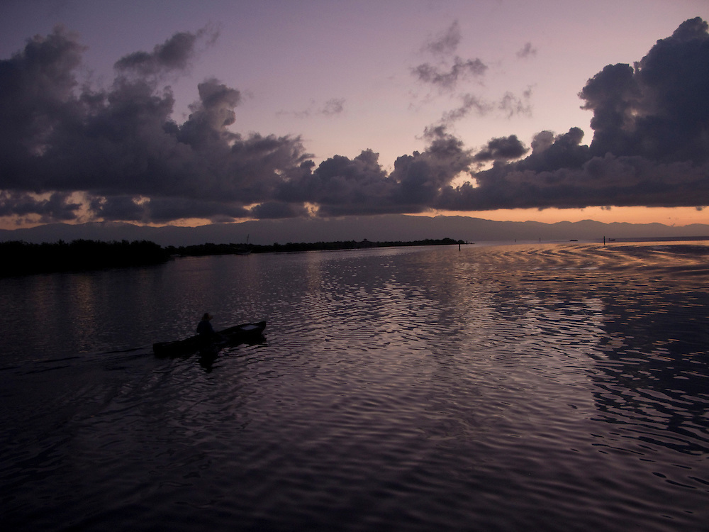 A canoe at sunrise.