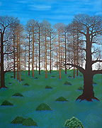 &lsquo;Bluebells in England&rsquo;     31&rdquo; x 39&rdquo;<br /> Mike Harridge.<br /> Acrylic on canvas.<br /> sold