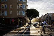 Een fietser rijdt over Polk Street in San Francisco. De Amerikaanse stad San Francisco aan de westkust is een van de grootste steden in Amerika en kenmerkt zich door de steile heuvels in de stad. Ondanks de heuvels wordt er steeds meer gefietst in de stad.<br /> <br /> A cyclist at Polk Street in San Francisco. The US city of San Francisco on the west coast is one of the largest cities in America and is characterized by the steep hills in the city. Despite the hills more and more people cycle.
