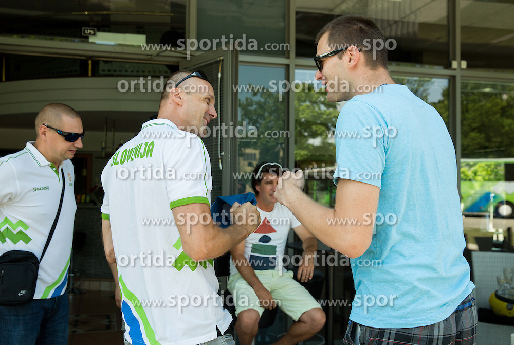 Jure Zdovc and Uros Slokar during meeting of Slovenian National Nasketball Team at the beginning of Training camp for Eurobasket 2015, on July 18, 2015 in Ljubljana, Slovenia. Photo by Vid Ponikvar / Sportida