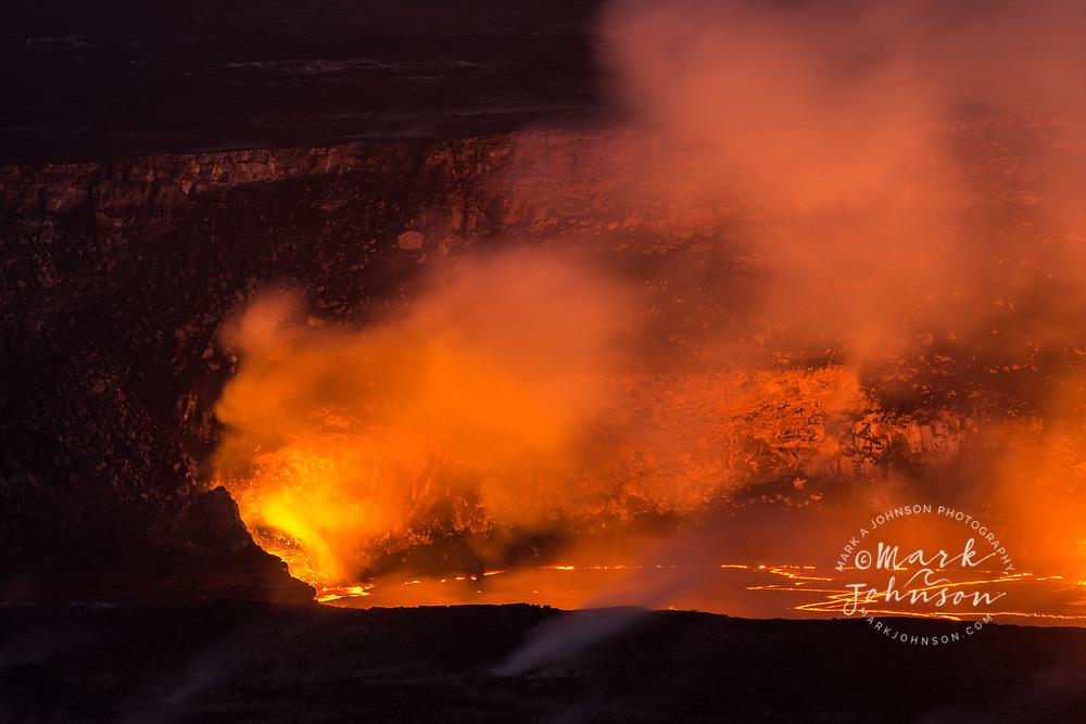Volcanic eruption in Halemaumau Crater, Kilauea Volcano, Hawaii Volcanoes National Park, Big Island, Hawaii