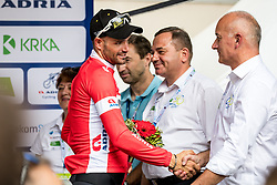 Luka Mezgec (SLO) of Mitchelton - Scott and Bogdan Fink at trophy ceremony after 5th Stage of 26th Tour of Slovenia 2019 cycling race between Trebnje and Novo mesto (167,5 km), on June 23, 2019 in Slovenia. Photo by Matic Klansek Velej / Sportida