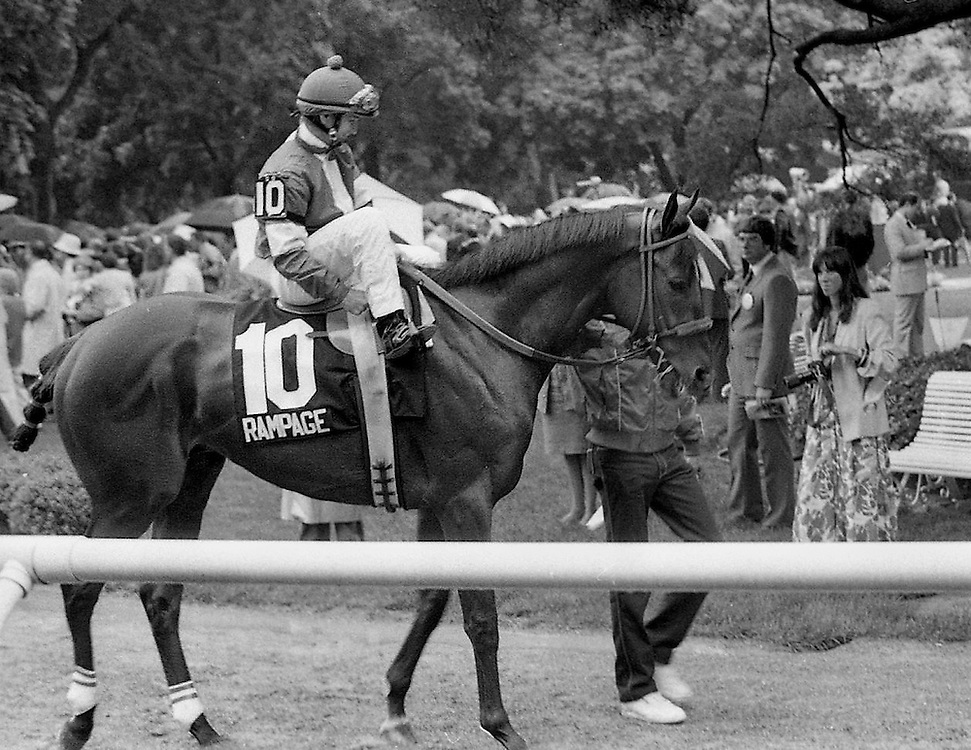 Paddock post parade for the Belmont Stakes with Rampage. 1986.