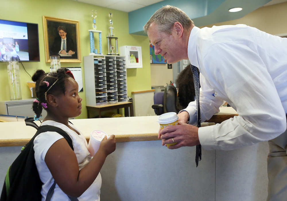 (Boston, MA - 5/26/15) Gov. Charlie Baker chats with Zojandria Cumberlander, 7, during a visit to the Boys & Girls Club in Dorchester, Tuesday, May 26, 2015. Staff photo by Angela Rowlings.