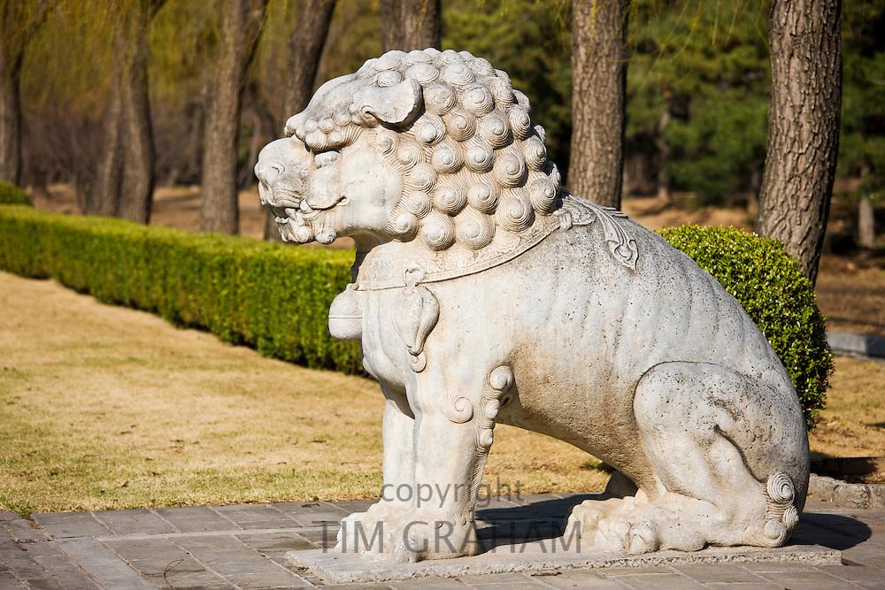 Statue of a resting lion, Spirit Way, Ming Tombs, Beijing (Peking), China