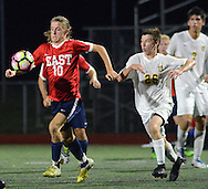 Central Bucks East's Matthew Penza #10 drives towards the net as Central Bucks East's Carson Snyder #26 gives chase in the first half Wednesday, September 14, 2016 at Central Bucks West in Doylestown, Pennsylvania.  (Photo by William Thomas Cain)