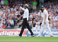 Umpire Kumar Dharmasena  with the new ball during the 5th Investec Ashes Test Match match at the Kia Oval, London<br /> Picture by Alan Stanford/Focus Images Ltd +44 7915 056117<br /> 21/08/2015