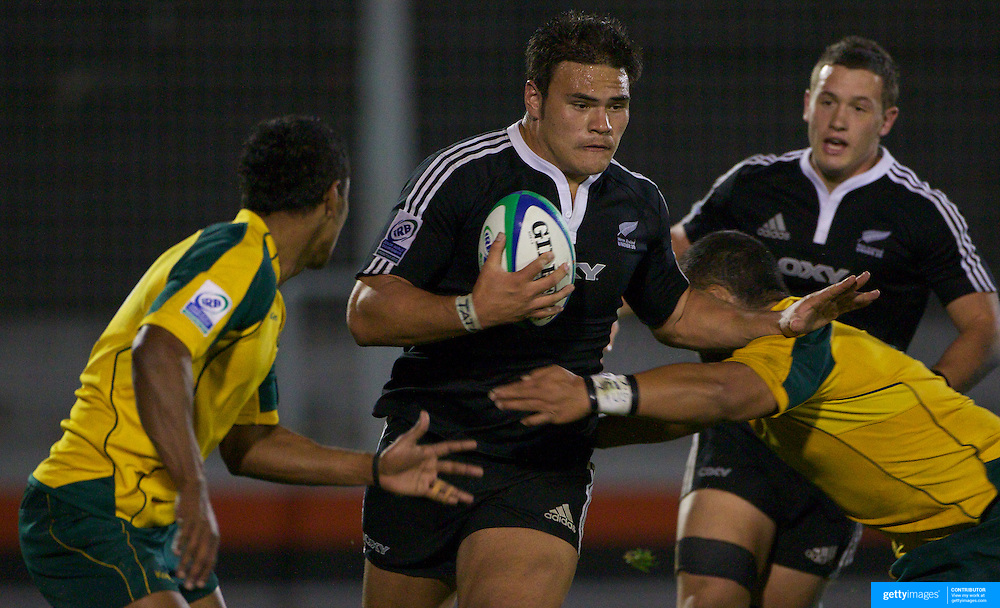 Angus Taavao-Matau, New Zealand, in action during the Australia V New Zealand Final match at Estadio El Coloso del Parque, Rosario, Argentina, during the IRB Junior World Championships. 21th June 2010. Photo Tim Clayton...