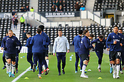 \Derby County players warming up during the EFL Sky Bet Championship match between Derby County and Millwall at the Pride Park, Derby, England on 14 December 2019.