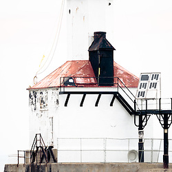 Vertical panorama picture of Michigan City lighthouse. The Michigan City East Pierhead Lighthouse is located in Michigan City, Indiana along the Lake Michigan shoreline. Panoramic photo ratio is 1:3.