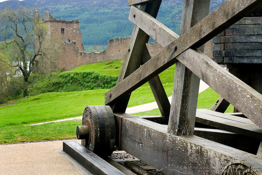 Castle Urquhart and attendant trebuchet, Loch Ness Scotland