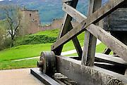 Castle Urquhart and attendant trebuchet, Loch Ness Scotland