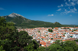 View of the hill town of Agiassos on Lesvos Island in Greece