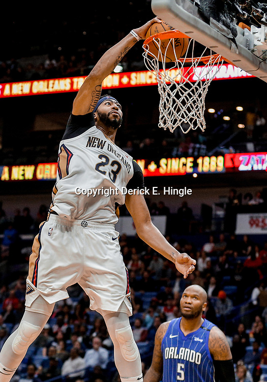 Oct 30, 2017; New Orleans, LA, USA; New Orleans Pelicans forward Anthony Davis (23) dunks against the Orlando Magic during the second half of a game at the Smoothie King Center. The Magic defeated the Pelican 115-99. Mandatory Credit: Derick E. Hingle-USA TODAY Sports