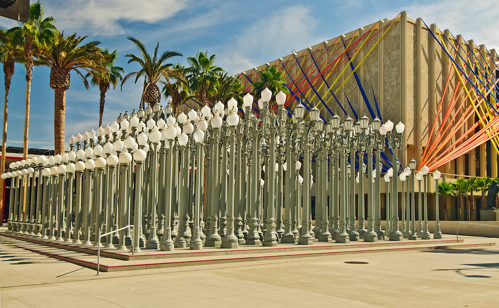 'L.A. street lights' sculpture by Chris Burden, Los Angeles County Museum of Art, Los Angeles, California