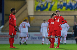 CHESTER, ENGLAND - Friday, October 23, 2015: Liverpool's Jerome Sinclair and Daniel Trickett-Smith look dejected as Benfica score the opening goal during the Premier League International Cup match at the Deva Stadium. (Pic by David Rawcliffe/Propaganda)