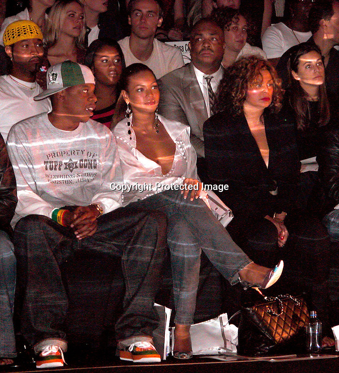 Jay-Z &amp; Beyonce Knowles &amp; Tina Knowles<br />Rosa Cha By Amir Slama Fashion Show <br />Gertrude Tent, Bryant Park<br />New York City, NY, USA<br />Saturday, September, 13, 2003 <br />Photo By Celebrityvibe.com/Photovibe.com