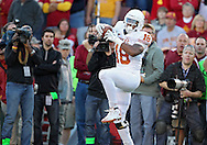 October 01, 2011: Texas Longhorns tight end D.J. Grant (18) pulls in a pass during the first half of the game between the Iowa State Cyclones and the Texas Longhorns at Jack Trice Stadium in Ames, Iowa on Saturday, October 1, 2011. Texas defeated Iowa State 37-14.