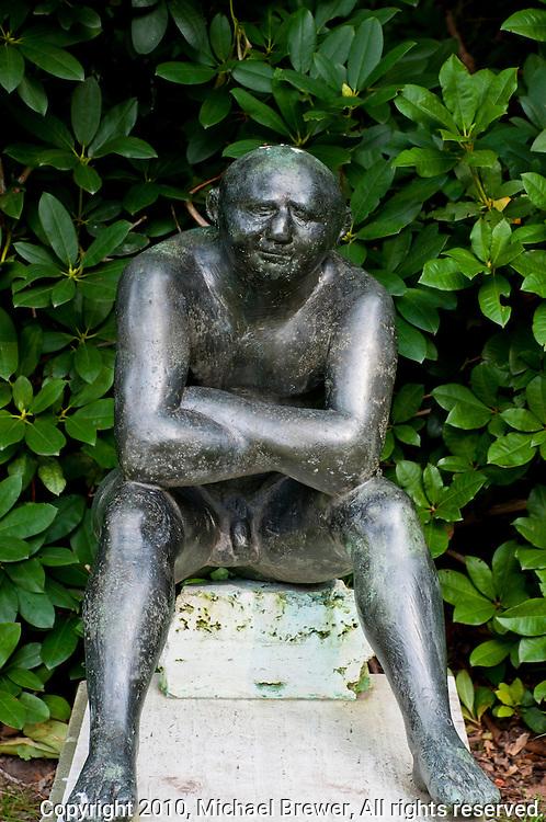 Middleheim Sculpture Park, Antwerp, Belgium - seated nude man in bronze
