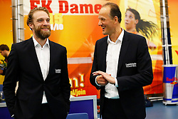 20140928 NED: Supercup, Landstede Volleybal - Kootfin Taurus: Sneek<br /> Thijs van Noorden, assistent coach, en Redbad Strikwerda headcoach Landstede Volleybal, zijn tevreden met het winnen van de Supercup<br /> ©2014-FotoHoogendoorn.nl / Pim Waslander