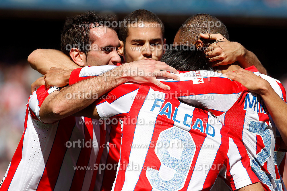 11.03.2012, Vicente Calderon Stadion, Madrid, ESP, Primera Division, Atletico Madrid vs FC Granada, 27. Spieltag, im Bild Atletico de Madrid's Diego Godin, Mario Suarez, Radamel Falcao and Joao Miranda celebrate goal // during La Liga match.March 11,2012 during the football match of spanish 'primera divison' league, 27th round, between Atletico Madrid and FC Granada at Vicente Calderon stadium, Madrid, Spain on 2012/03/11. EXPA Pictures © 2012, PhotoCredit: EXPA/ Alterphotos/ Acero..***** ATTENTION - OUT OF ESP and SUI *****