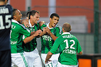FOOTBALL - FRENCH CHAMPIONSHIP 2011/2012 - L1 - AS SAINT ETIENNE v AS NANCY LORRAINE - 13/08/2011 - PHOTO JEAN MARIE HERVIO / DPPI - JOY ST ETIENNE PLAYERS AFTER THE SYLVAIN MARCHAL'S GOAL