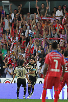 20110812: BARCELOS, PORTUGAL - Gil Vicente vs SL Benfica: Portuguese League 2011/2012, 1st round. In picture: Benfica goal  - Saviola (backs) and Nolito. PHOTO: Pedro Benavente/CITYFILES