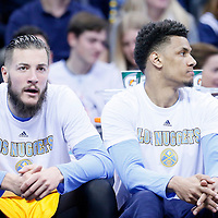 04 March 2016: Denver Nuggets center Joffrey Lauvergne (77) is seen next to Denver Nuggets forward Axel Toupane (6) on the bench during the Brooklyn Nets 121-120 victory over the Denver Nuggets, at the Pepsi Center, Denver, Colorado, USA.