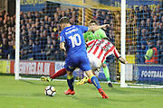 AFC Wimbledon striker Cody McDonald (10) dribbling into box during the The FA Cup match between AFC Wimbledon and Lincoln City at the Cherry Red Records Stadium, Kingston, England on 4 November 2017. Photo by Matthew Redman.