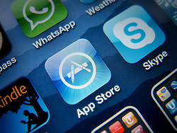Close-up of screen of iPhone 4G smart phone showing app store application