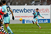 Joe Jacobson (3) of Wycombe Wanderers takes a free kick during the EFL Sky Bet League 2 match between Exeter City and Wycombe Wanderers at St James' Park, Exeter, England on 10 February 2018. Picture by Graham Hunt.