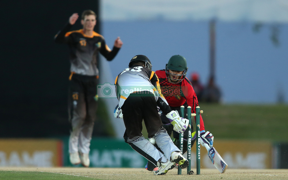 Siyosile Pono of Boland loses the ball while attempting to stump Mathew Christensen of Eastern Province during the Africa T20 cup pool D match between Boland and Eastern Province held at the Boland Park cricket ground in Paarl on the 24th September 2016.<br /> <br /> Photo by: Shaun Roy/ RealTime Images