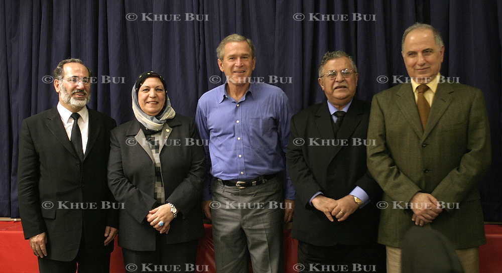 Pres. Bush holds meetings with members of the Iraqi Governing Council at Baghdad International Airport Thursday, November 27, 2003.  In a clandestine night time move President Bush, with the knowledge of only a handful of senior staff, departed his ranch in Crawford, Texas and flew through the night to spend the Thanksgiving Day holiday visiting troops stationed in the war torn country...Photo by Khue Bui