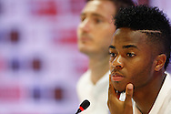 Frank Lampard (L) and Raheem Sterling (R) speak to the media during the England press conference at Est&aacute;dio Claudio Coutinho, Rio de Janeiro<br /> Picture by Andrew Tobin/Focus Images Ltd +44 7710 761829<br /> 17/06/2014