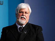 Captain Paul Watson speaks during the press conference to announce Pharrell Wiliams' collaboration with Bionic Yarn and G-Star Raw at the Museum of Natural History in New York City, New York on February 08, 2014.