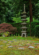 A stone pagoda in the Portland Japanese Gardens, Porland, Oregon