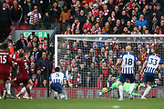 Brighton and Hove Albion goalkeeper Matthew Ryan (1) makes a diving save  during the Premier League match between Liverpool and Brighton and Hove Albion at Anfield, Liverpool, England on 30 November 2019.