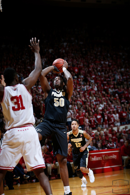 Purdue forward Caleb Swanigan (50) in action as Purdue played Indiana in an NCCA college basketball game in Bloomington, Ind., Thursday, Feb. 9, 2017. (AJ Mast)