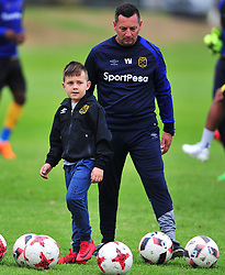 Cape Town--180329 Cape Town City assistant coach Vasili Manousakis and son Mateo who is a number 1 fan of the team,at training preparing for their Nedbank Cup game against Sundowns on sunday  .Photographer;Phando Jikelo/African News Agency/ANA