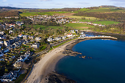 Aerial view of village of Aberdour in Fife, Scotland, UK