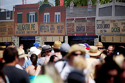 27 April 2012. New Orleans, Louisiana,  USA. .New Orleans Jazz and Heritage Festival. .The infamous food stalls offering all manner of southern delicacies to tempt festival goers..Photo; Charlie Varley.