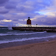&quot;Charlevoix Lighthouse Sunset&quot; 1<br /> <br /> Scenic Charlevoix Michigan sunset at the South Pier Lighthouse!<br /> <br /> Sunset Images by Rachel Cohen