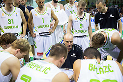 Jure Zdovc, head coach of Slovenia with players during friendly basketball match between National teams of Slovenia and Australia, on August 3, 2015 in Arena Tri lilije, Lasko, Slovenia. Photo by Vid Ponikvar / Sportida