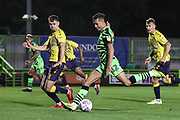 Forest Green Rovers Taylor Allen(12) shoots at goal during the Leasing.com EFL Trophy match between Forest Green Rovers and Coventry City at the New Lawn, Forest Green, United Kingdom on 8 October 2019.