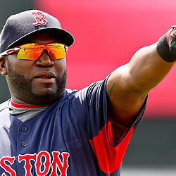 March 16, 2011; Lake Buena Vista, FL, USA; Boston Red Sox first baseman David Ortiz (34) before a spring training exhibition game against the Atlanta Braves at the Disney Wide World of Sports complex.  Mandatory Credit: Derick E. Hingle