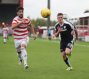 Hamilton Academical's Jesus Garcia Tena and Dundee's Rhys Healey - Hamilton Academical v Dundee, Ladbrokes Premiership at New Douglas Park<br /> <br /> <br />  - &copy; David Young - www.davidyoungphoto.co.uk - email: davidyoungphoto@gmail.com
