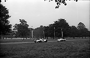 16/09/1967<br /> 09/16/1967<br /> 16 September 1967<br /> Phoenix Park Motor Racing, Kingsway Trophy Race, sponsored by Player and Wills (Ireland) Limited. <br /> Image shows P.J.B. White's Lotus 7 and J.A. Nesbitt's Lotus XI (9).