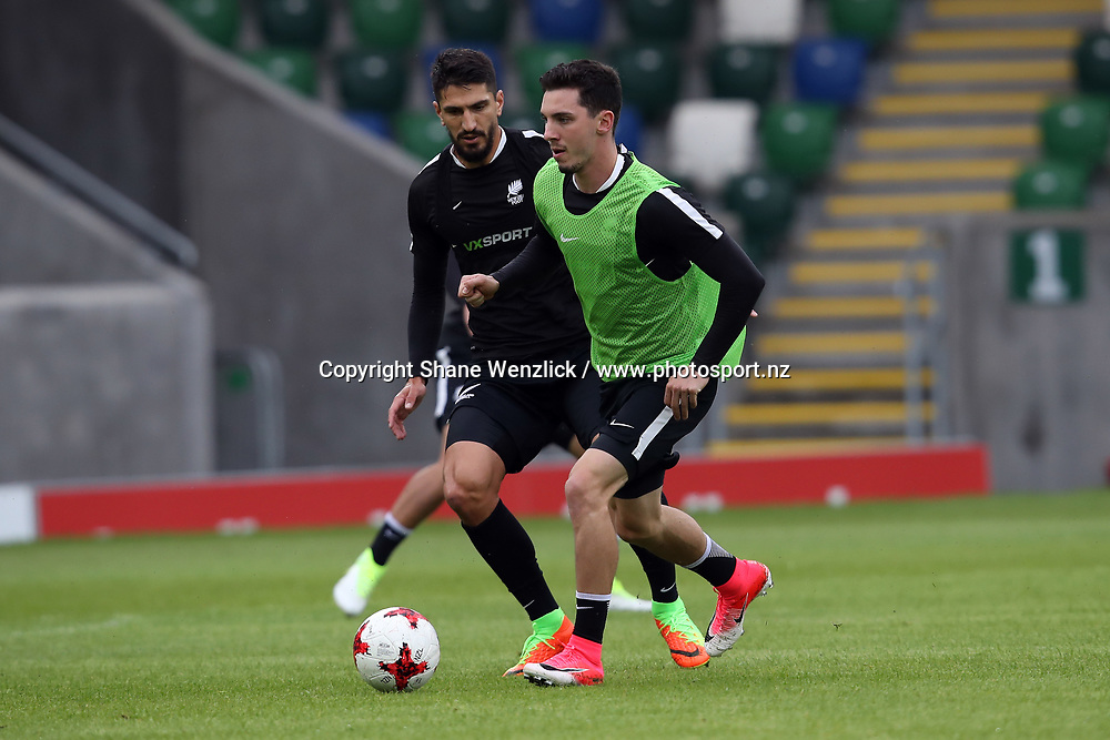 Storm Roux and Themi Tzimopoulos. All Whites training, Windsor Park, Belfast, Northern Ireland, Monday 29th May 2017. Photo: Shane Wenzlick / www.photosport.nz