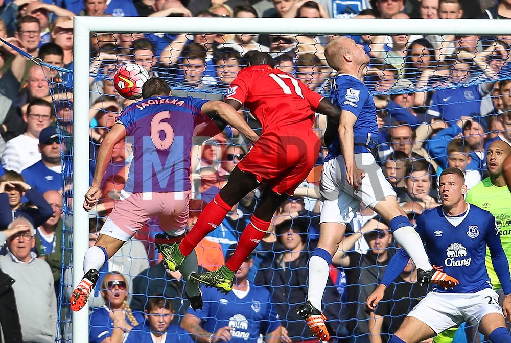 Mamadou Sakho of Liverpool fires a header at goal  - Mandatory byline: Matt McNulty/JMP - 07966 386802 - 04/10/2015 - FOOTBALL - Goodison Park - Liverpool, England - Everton  v Liverpool - Barclays Premier League