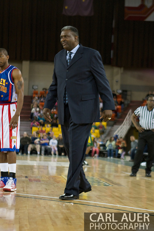 April 30th, 2010 - Anchorage, Alaska:  The Globetrotters coach for the evening and former player, Sweet Lou Dunbar heads out on the floor for another crowd pleasing time out.
